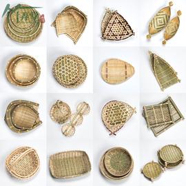 手工竹篮子 筲箕 竹筛子竹编水果篮点心托盘家用编织工艺圆形簸箕图片