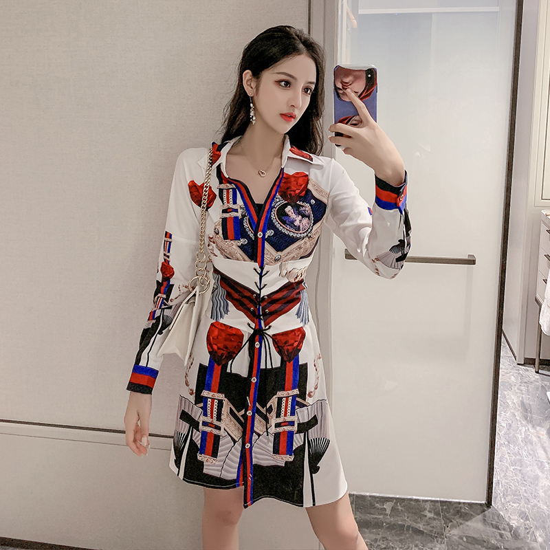 2020 new summer social temperament goddess Fangang flavor retro waistband irregular PRINTED SHIRT SHORT SLEEVE DRESS