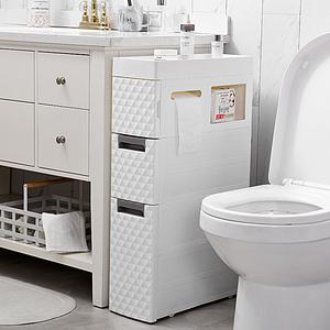 18CM卫生间夹缝置物架塑料落地式多层厕所缝隙架浴室马桶边收纳柜