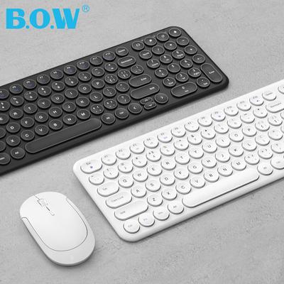 BOW航世巧克力静音小无线键盘 笔记本台式电脑外置办公专用女生可爱超薄复古圆键鼠标套装非充电