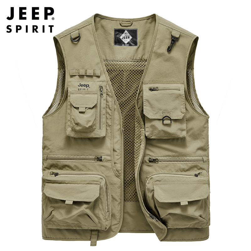 JEEP/Jeep spring and autumn vest male fishing multi-bag men's waistcoat detachable tooling photography gown jacket