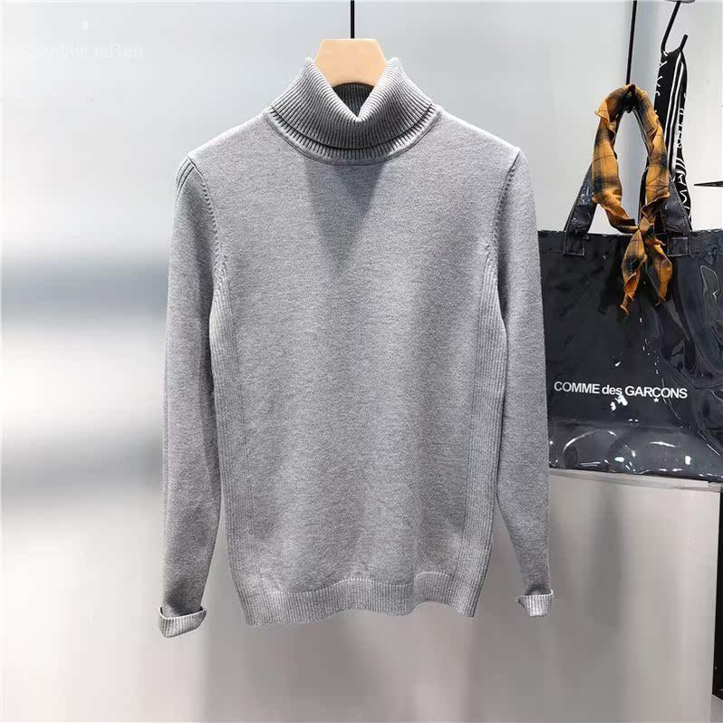 XHP359 跑量款纯色毛衣男韩版修身半高领针织衫浅灰色 69501P39