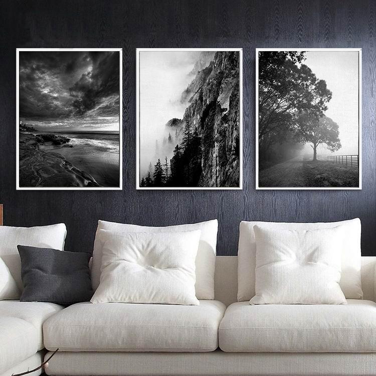 黑白摄影树林风景现代简约客厅挂画