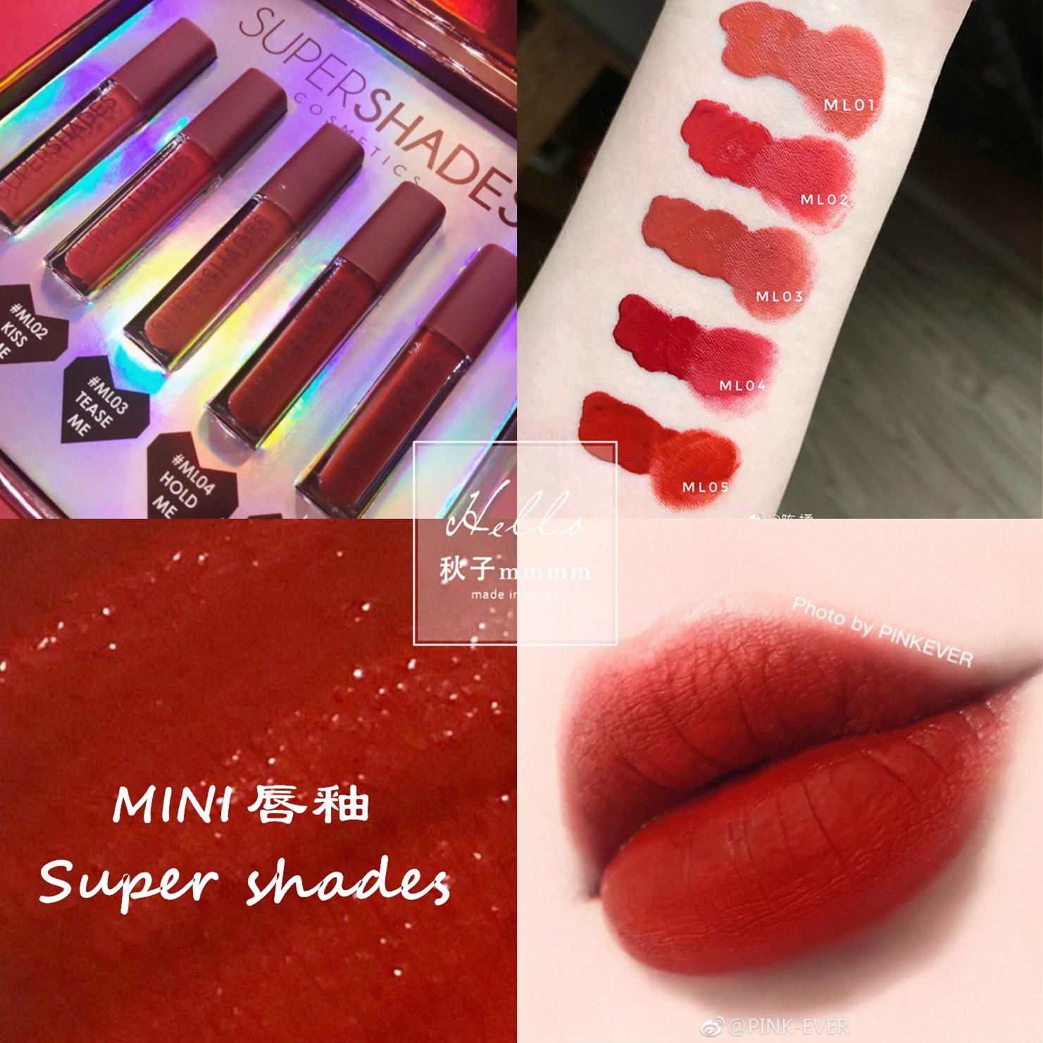 泰国supershades迷你mini哑光唇釉2ml便携口红ss陈橘大番茄红ML05