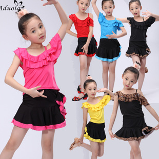 Summer paragraph girls short sleeved suit children Latin dance costumes Children s clothes and dance training clothing can print