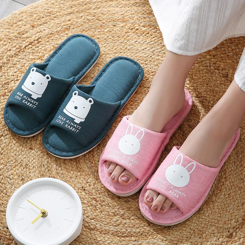 可爱亚麻布男式家居家用夏天内拖鞋