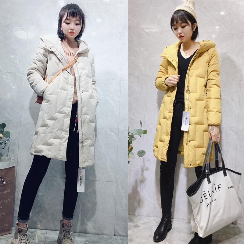 冬季新品韩版连帽中长款单排扣显瘦宽松长袖棉衣外套女羽绒棉服潮