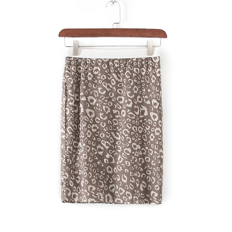 娃系列夏季装专柜正品女装咖啡色豹纹印花包臀短裙 31173