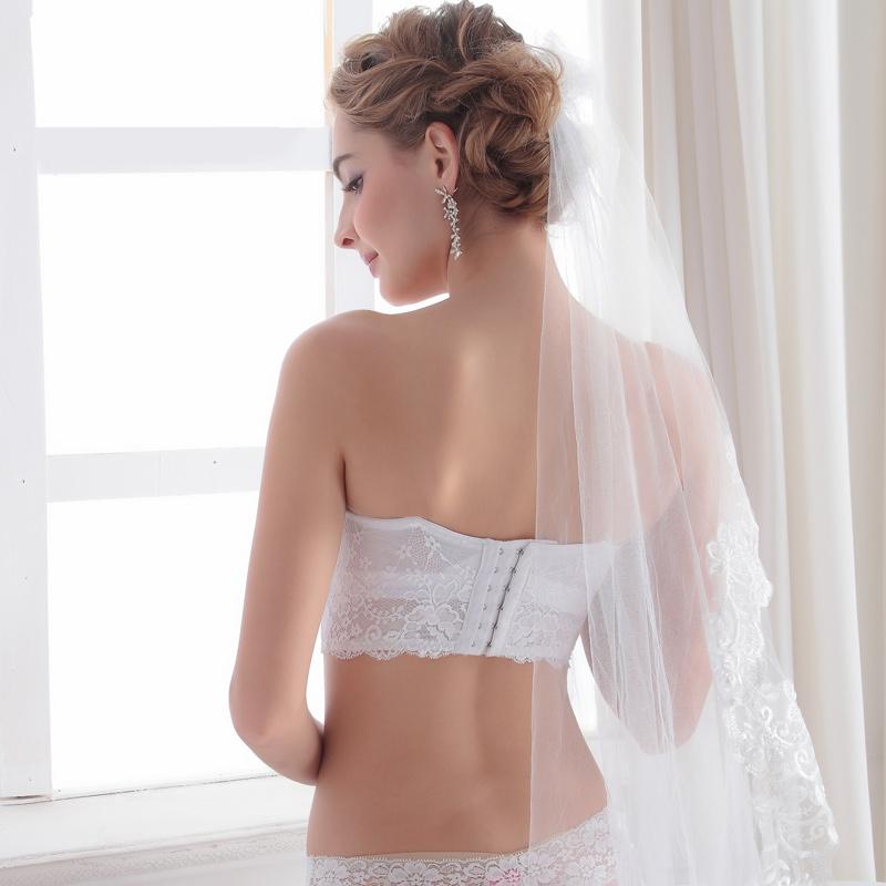 新娘无肩带隐形聚拢防滑上托文胸胸罩婚纱抹胸式礼服美背内衣胸贴