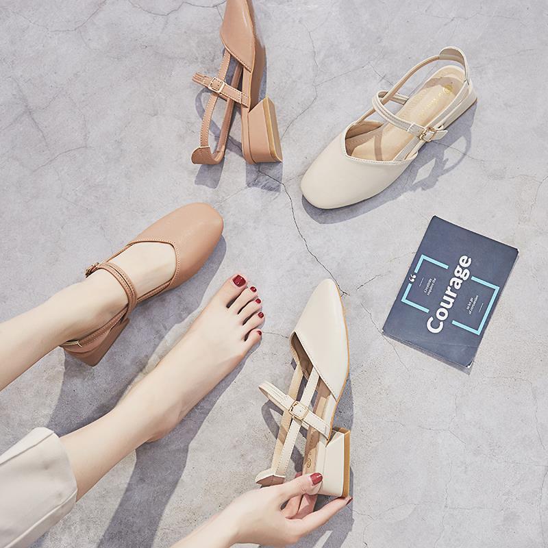 P52凉鞋女夏中跟2020新款韩版百搭学生仙女风复古粗跟一字带单鞋