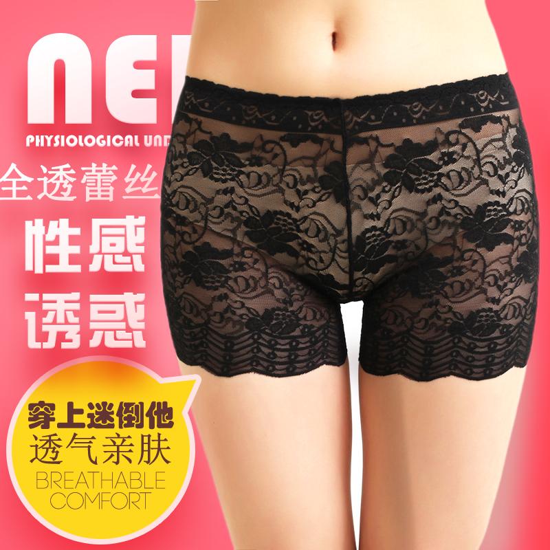 三条包邮夏女全蕾丝无痕透明防走光三分安全打底裤性感短裤平角裤