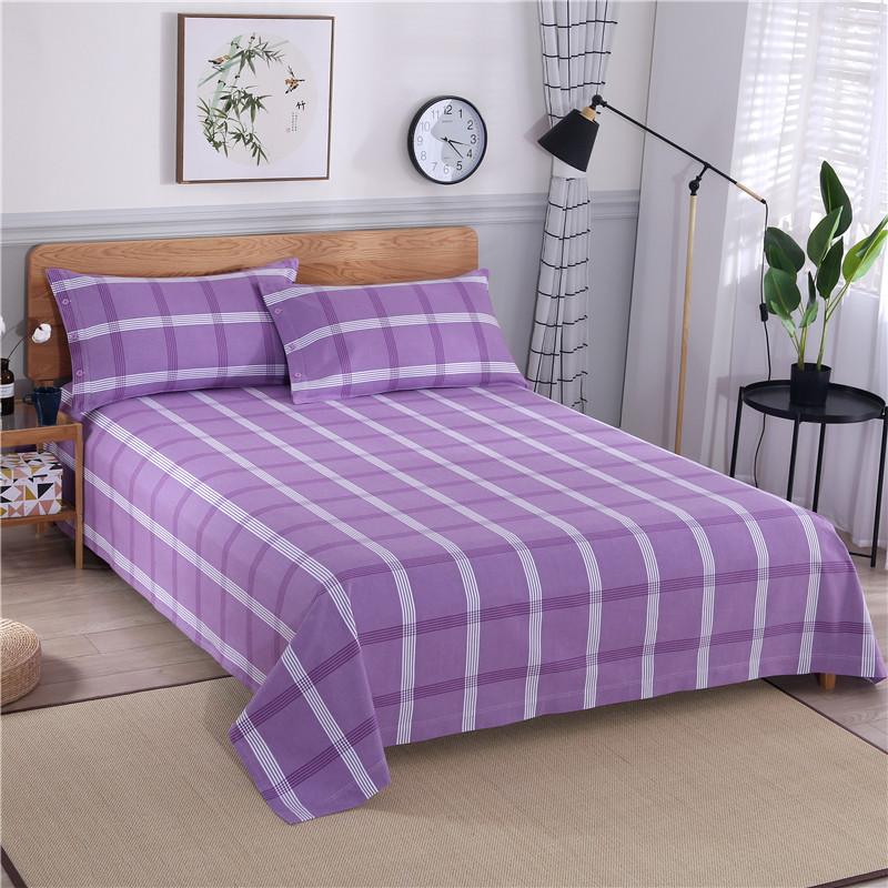 全棉老粗布床单三件套简约四件套条纹格子被套单双人床单1.8米2米
