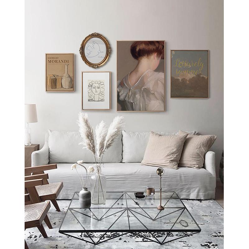 星川欧式轻奢客厅装饰画餐厅艺术人物抽象风实木框挂画 云卷云舒