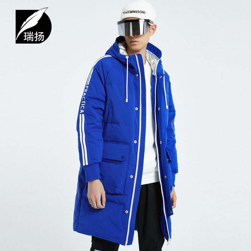 Ruiyang mens wear medium length thick hooded mens down jacket sports winter coat fashion coat off season special down jacket