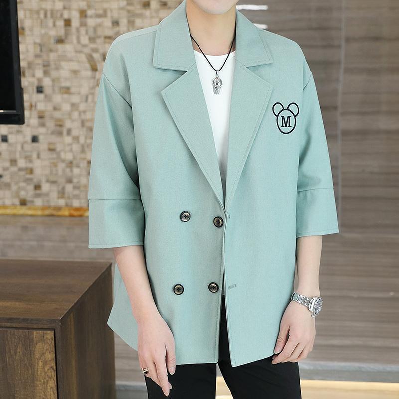 男士纯色宽松休闲小西装 韩版修身七分袖短袖西服外套 X955P90