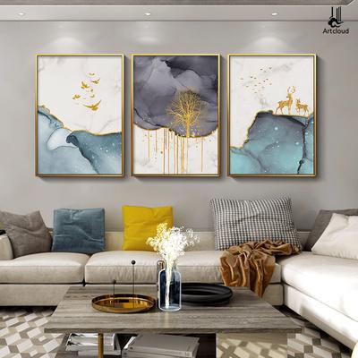 客厅装饰画北欧风格发财鹿现代简约三联沙发背景墙上轻奢挂画大气