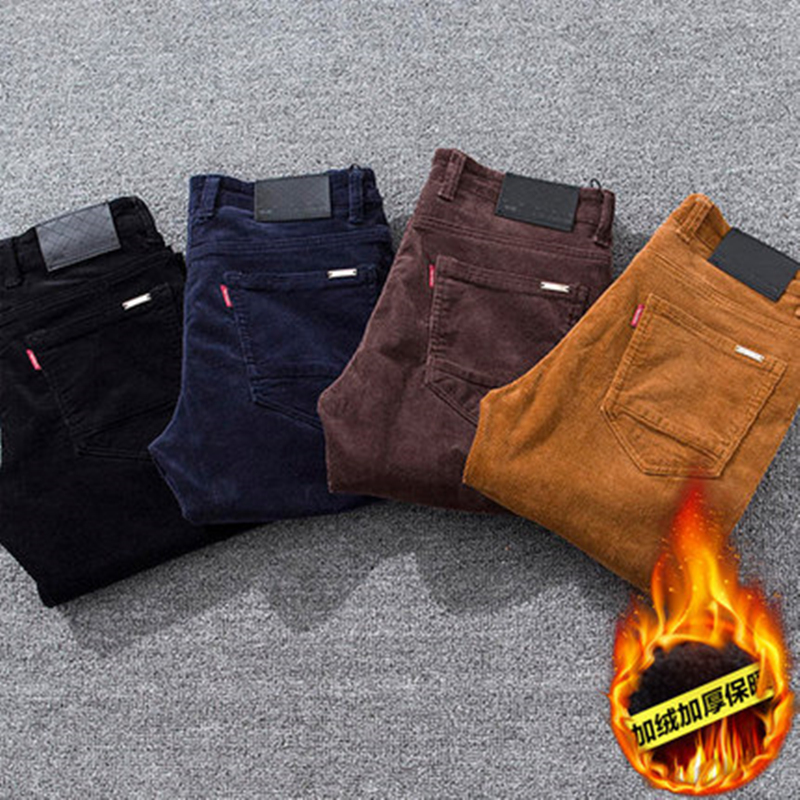 Mens pants in autumn and winter, plush and thickened, loose outside in winter, striped velvet mens Corduroy casual pants