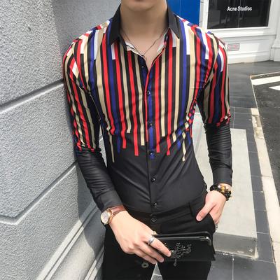 18年秋新款数码印花条纹修身衬衣潮流个性衬衫发型师工服W356-P55