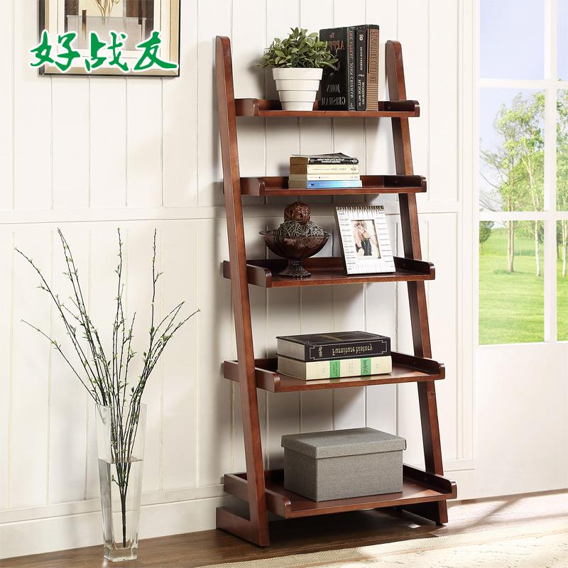 好战友新中式实木简易落地小书架卧室创意简约家用客厅梯形置物架