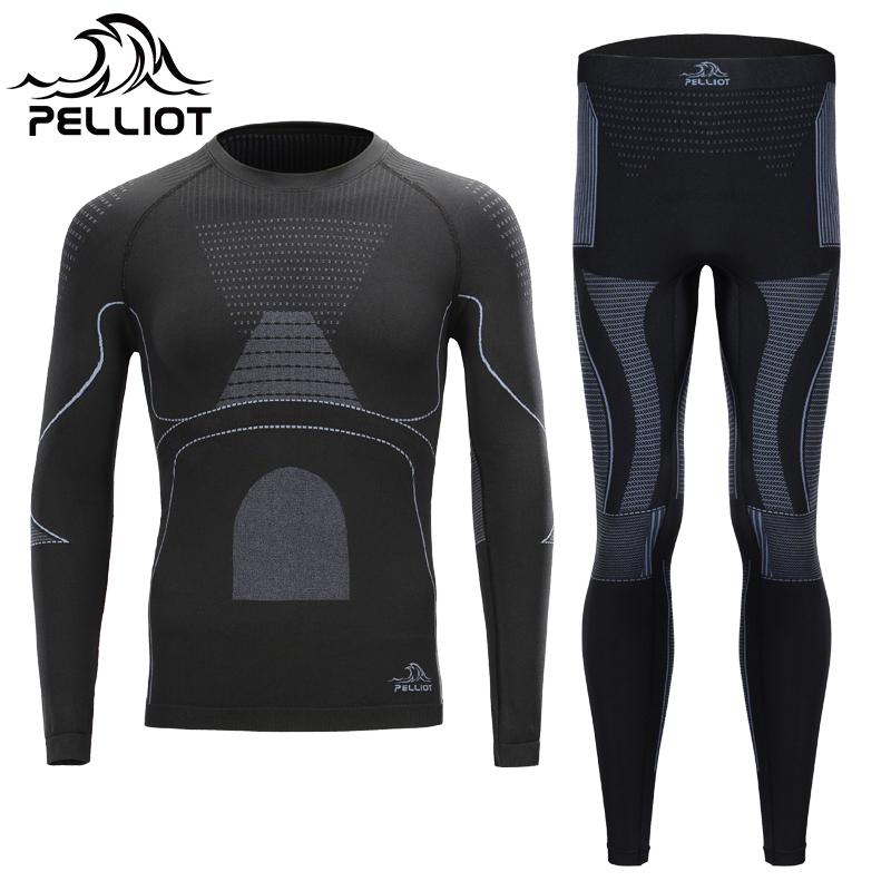 Франция PELLIOT на открытом воздухе функция нижнее белье мужской и женщины эластичность теплый быстросохнущие одежда катание на лыжах движение нижнее белье брюки костюм