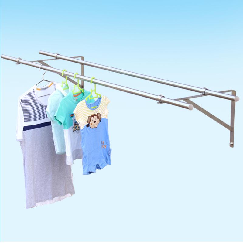 侧装晾衣架套餐 阳台外飘伸固定式挂衣晒衣杆25不锈钢管 永固五金