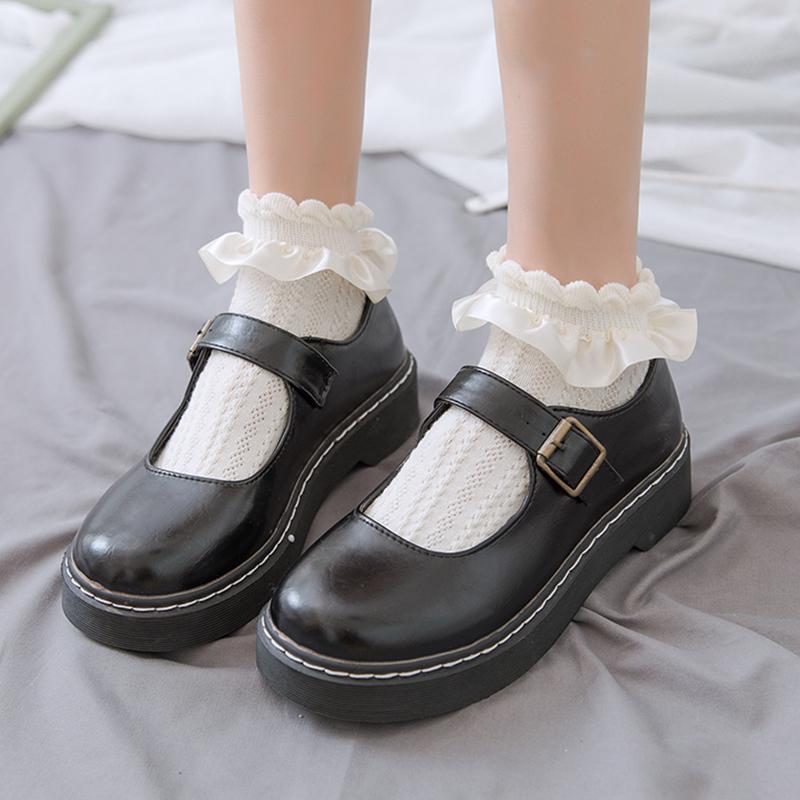 可爱lolita网眼jk袜子女秋冬ins潮蕾丝花边短袜女浅口纯色白棉袜