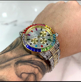 欧美INS男士嘻哈彩钻大表盘手表钢带满钻防水金表潮男时尚腕表图片