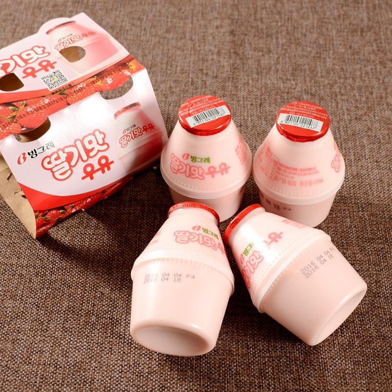 16 bottles of Korean imported food Bingrui strawberry milk beverage 240ml, distributed every Thursday