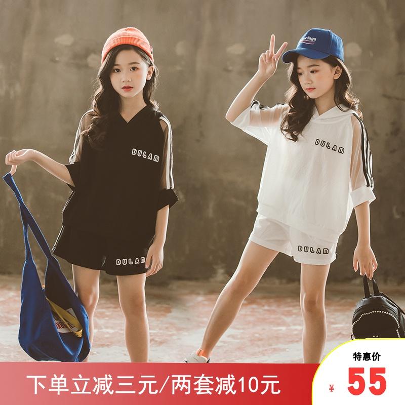 中大女童套装2020夏装儿童短袖短裤12岁女孩洋气13运动休闲两件套图片