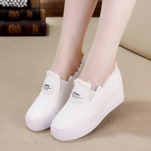 春秋新款帆布鞋女韩版内增高小白鞋一脚蹬套脚懒人厚底松糕休闲鞋