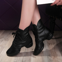 Exactly fish autumn winter new leather dance shoe square dancing shoes jazz sailor Dance Soft bottom adult dance shoe girl