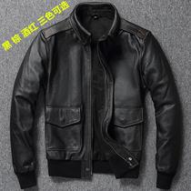 A2空军飞行皮夹克美式复古头层牛皮真皮皮衣男装短款修身大码