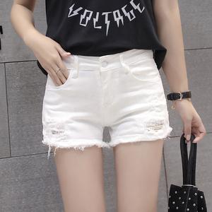 低腰牛仔短裤女白色夏2020韩版破洞超短热裤弹力修身显瘦黑色靴裤