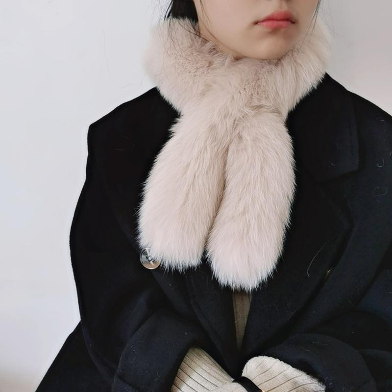 Winter fox double face cross fur scarf for women