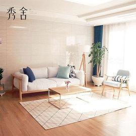 北欧布艺沙发小户型现代简约客厅白蜡木原木风格三人实木日式家具图片