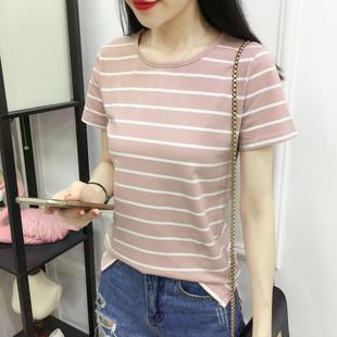 夏季韩版纯棉宽松短袖t恤女上衣圆领下摆开叉修身中袖条纹打底衫