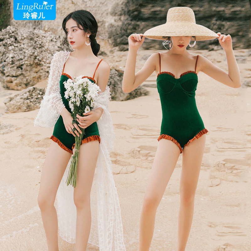 One piece swimsuit, sexy bikini, hot spring bathing suit, thin and belly covered, Korean ins conservative fairy style