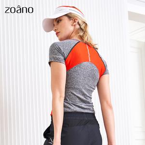 佐纳秋装跑步速干衣女紧身运动短袖T恤高弹显瘦瑜伽健身服上衣女
