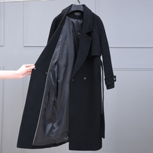 Anti season knee length Black Cashmere wool woolen coat women's autumn and winter 2019 Hepburn medium long double faced woolen coat