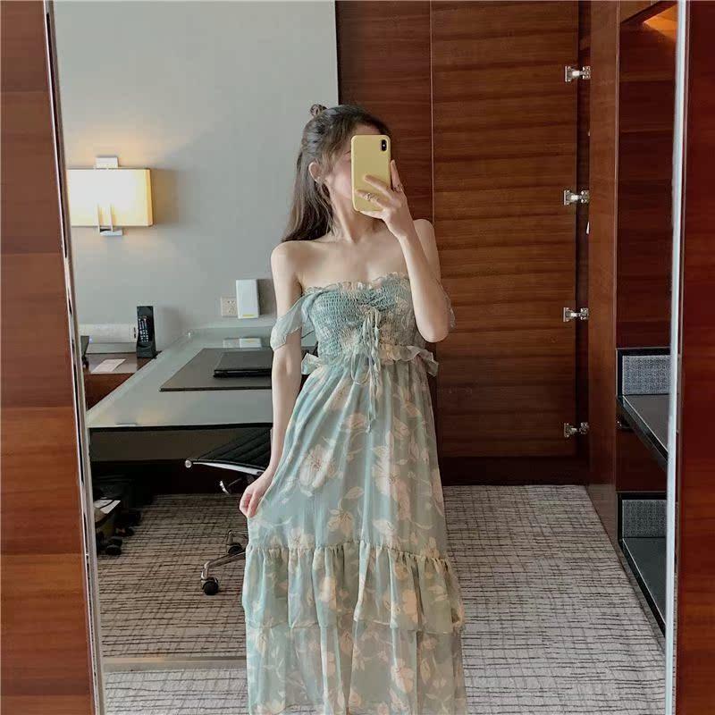2019夏季新款一袭温柔神仙色连衣裙满158.00元可用1元优惠券