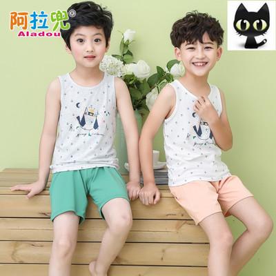 男童背心套装夏款5儿童睡衣6薄款纯棉透气10周岁男孩7短袖家居服9