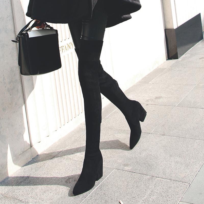 弹力靴2020秋冬新款长筒靴女过膝瘦瘦靴粗跟高跟黑色瘦腿长靴高筒