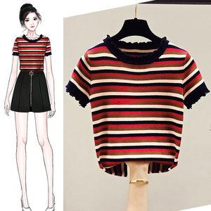 彩色条纹冰丝针织短袖女装夏季t恤