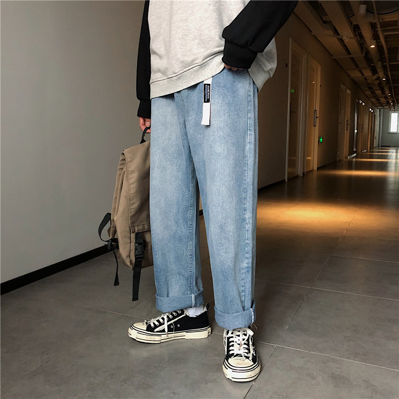 Spring and summer 2020 light blue jeans mens straight tube loose retro Hong Kong Style fall feeling wide leg tapered daddy Chao pants