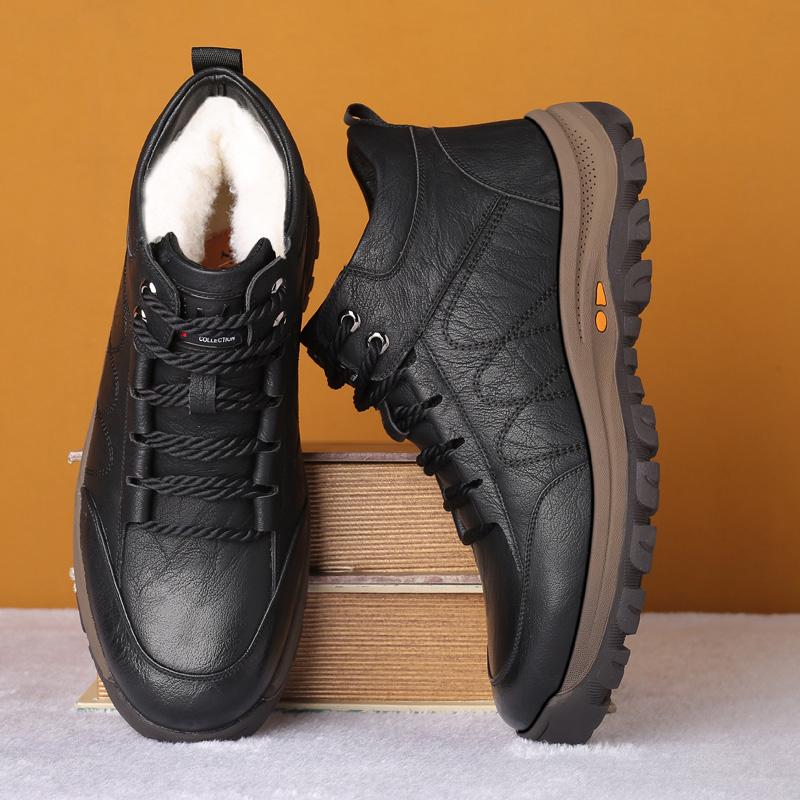男士棉鞋冬季新款加绒保暖加厚皮毛一体休闲高帮皮鞋防滑男雪地靴