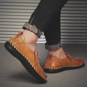 冬季<span class=H>男鞋</span>豆豆鞋男士休闲鞋懒人鞋一脚蹬皮鞋潮鞋透气百搭套脚秋季