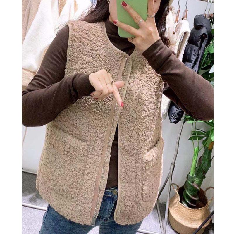 小燕子女装  2019新款韩版宽松显瘦口袋无袖羊羔毛马甲毛绒绒外套