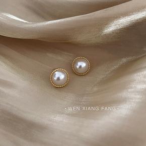法式优雅巴洛克珍珠耳环女韩国气质百搭精致小巧复古耳钉耳饰品