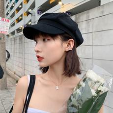 贝雷帽女潮ins百搭日系韩版潮帽子夏季薄款黑色英伦复古八角帽