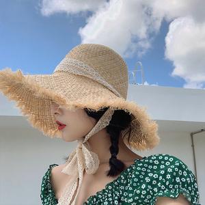 帽子女夏小清新可折叠编织草帽沙滩大檐防晒遮阳帽韩版百搭潮夏天